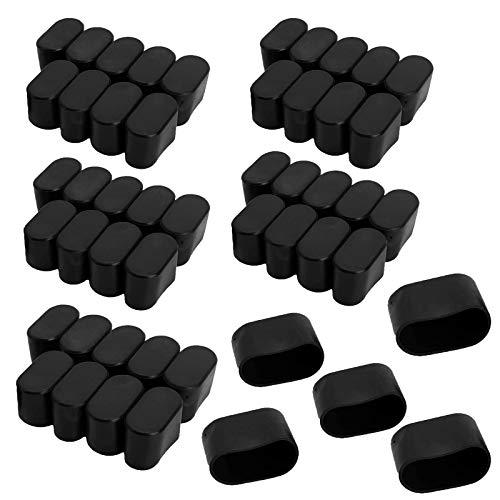 YuuHeeER Gummi-Möbel-Pads, ovale Form, für Tische, Stuhlbeine, Fußkappen, Fußkappen, Bodenabdeckung, Schwarz, 50 Stück, 15 x 30 mm