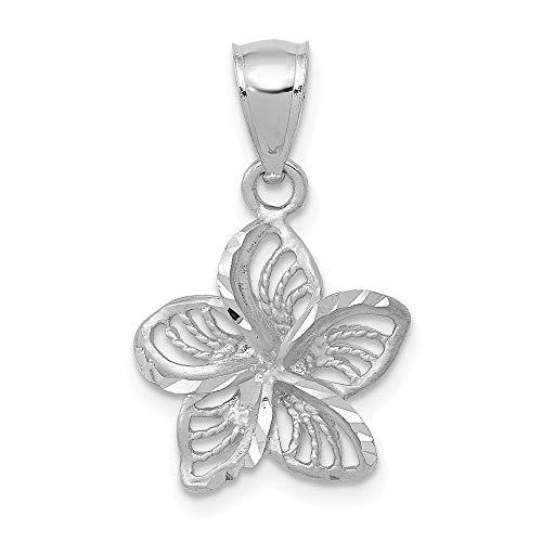 14k White Gold and Beaded Plumeria Flower Charm Pendant