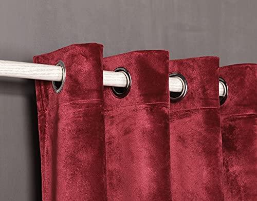 Cortina Terciopelo con 8 ollao (1 unidad X 140X260) para salón, habitación y dormitorio. (Rojo)