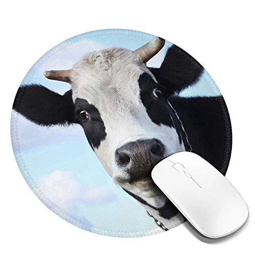 Mouse Pad Round for Kids Cow Print House Tree Mini Cute Mouse Pad Mat Women Girls Cool Personalized Gaming Non Slip Mousepad for Computer Laptop Office Non Slip
