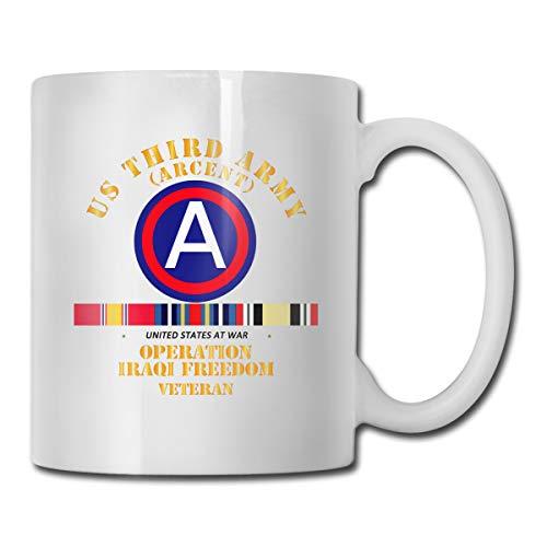 DSJRKSKEE Army 3rd Iraqi Freedom Vet SVC Funny Gift Mug White Tea Brewing Cups 11 Oz