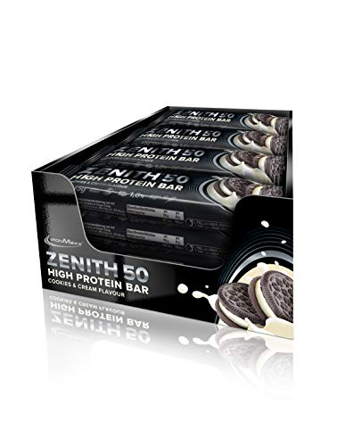 IronMaxx Zenith 50 High Protein Bar - 16er Pack - 45g Pro Protein-Riegel - Cookies & Cream - Low Carb Eiweiß-Riegel mit 50% Eiweiß und nur 0,8g Zucker pro Riegel - Designed in Germany