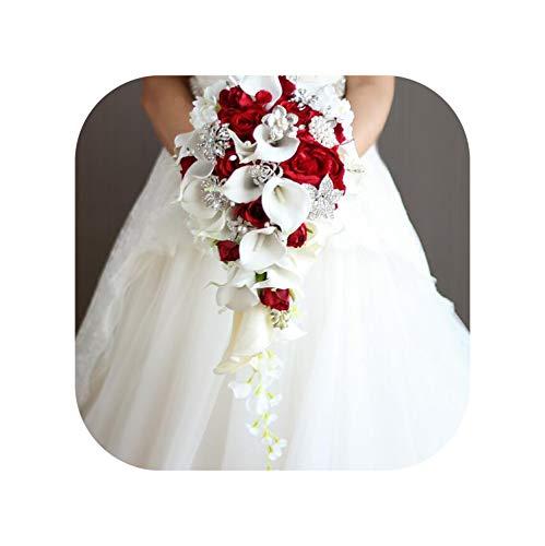 Margot-Charismatic-Shop Wedding Bouquet Blumenstrauß mit Wasserfall-Rosen, Brautstrauß, Kunstperlen, Kristall, Hochzeit, Blumenstrauß rot