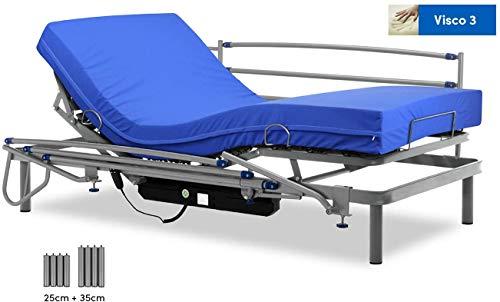Gerialife Cama articulada eléctrica con colchón Sanitario viscoelástico y...
