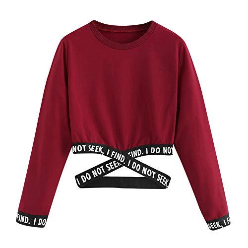 Sudadera de Manga Larga para niñas Camiseta de Manga Larga Suéter para niña Adolescente Sudadera con Capucha Top Hueco Estampado de Letras Oferta