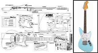 Plan de Fender Jagstang guitarra eléctrica–escala completa impresión