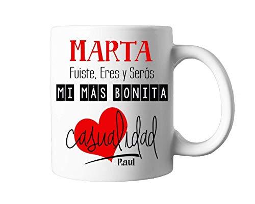 Kembilove Taza de Café Pareja – Taza de Desayuno con frase y nombre personalizado – Taza de Café y Té para Enamorados – Taza de Cerámica Impresa – Tazas de de 350 ml para San Valentin