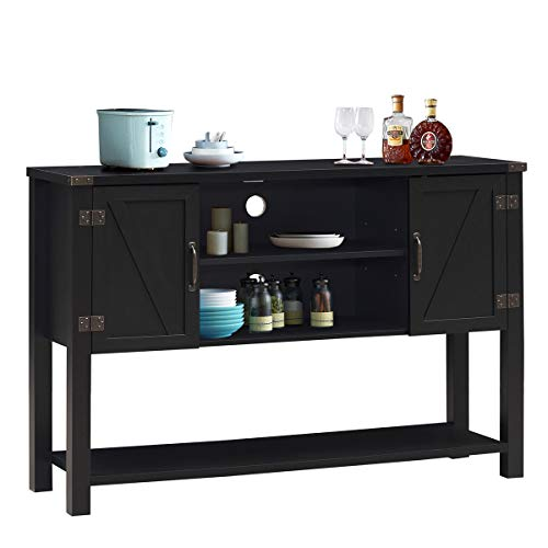 Tangkula Console Table Buffet Table, Modern Sideboard with Storage Cabinets and Bottom Shelf, Contemporary Tall Buffet Storage Cabinet, Kitchen Dining Room Furniture (Black)