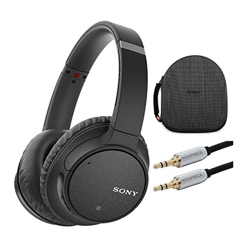 Sony WH-CH700N Wireless Noise Canceling Headphones (Black) w/Carrying case (with Removable Insert for Larger Headphones) and Audio Cable Bundle (3 Items)