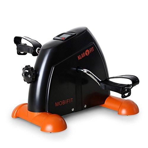 Klarfit Minibike 2G - Mini Ergometer, Minibike, Armtrainer, Beintrainer, Minifahrrad, Heimtrainer, 2kg Schwungmassensystem, Trainingscomputer, belastbar bis 100kg, schwarz-orange