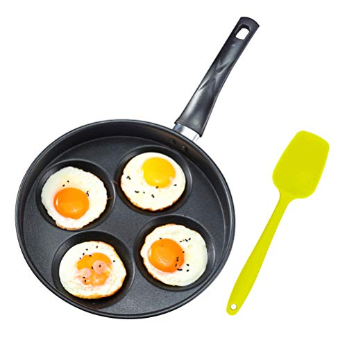 "Iron Egg Frying Pan with Non-Stick Ceramic Coating - 9.8"" 4 Cup Egg Cooker Pan and 8.3"" Silicone Turner - Multipurpose Pancake Pan Burger Omelet Cooker Griddle(PFOA Free)"