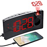PICTEK Projection Alarm Clock, 4 Dimmer, Digital Clock with USB Phone...