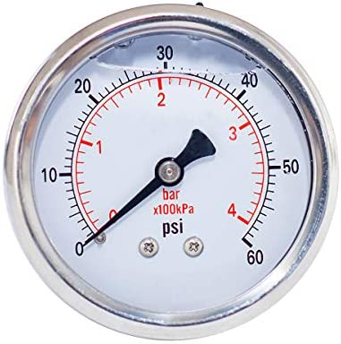 Pressure Gauge Liquid Filled 2 fae dia 0 60 psi bar kpa 1 4 NPT Back Mount Polycarbonate Lens product image