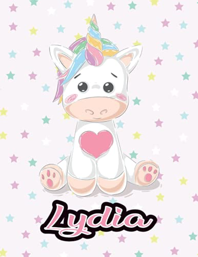 Lydia: Happy Birthday Lydia • Personalized notebook Lined journal personal name with Unicorn design • First Name Gift