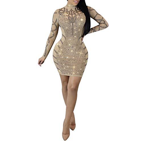 PORRCEY Women Sexy hot Diamond Process Sexy Dress Party Club Night Dress