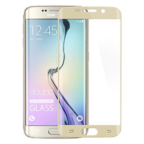 doupi FullCover Panzerfolie für Samsung Galaxy S6 Edge, Preimium 9H Hartglas HD Bildschirmschutz Anti Kratzer Glas Schutzfolie, Gold