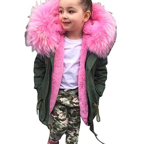 MissChild Giacca Parka Ragazze, Cappotto Trapuntata Invernale Manica Lunga Bambini, Cappotto con Cappuccio Imbottito Lunga
