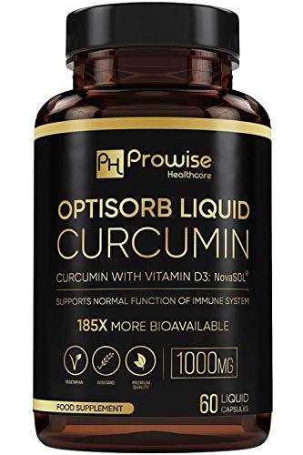 Curcumina líquida Optisorb con vitamina D - 60 Liqcaps | 185x Biodisponibilidad de cúrcuma y curcumina - Ultra Biodisponible | Cápsulas líquidas con 500 mg de NovaSOL® por cápsula
