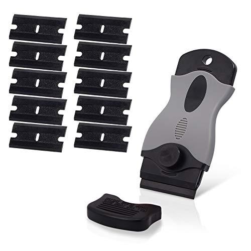 Ehdis Removedor de adhesivos raspador de plástico con 10 cuchillas de afeitar de plástico de doble filo para quitar la etiqueta Etiqueta de goma NO rayado, gris