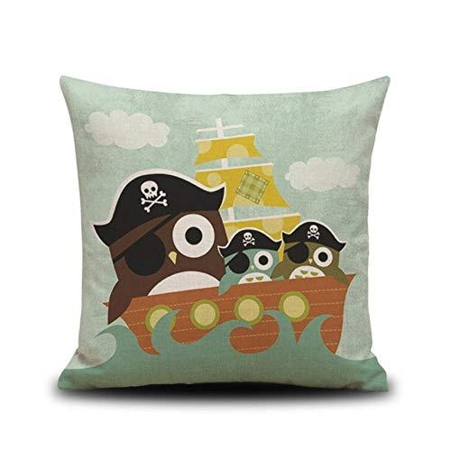 Ashx Kissen für Esszimmerstühle, 45 x 45 cm, Autositzkissen, dekoratives Kissen für Sofa, Piraten-Eulen-Druck, wie abgebildet