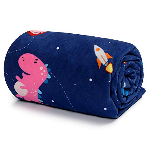 TILLYOU Soft Silky Minky Baby Blanket for Boys, Sensory Bedding Blanket with Dotted Backing, Fleece Plush Blanket for Nursery Crib, Stroller, Toddler Bed, Carseat, Galaxy Dinosaurs Navy 30x40