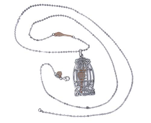 MAGICMOON - Mod. VTP10000257 - Romantica collana da donna in argento 925 rodiato con ciondolo gabbia con uccellino