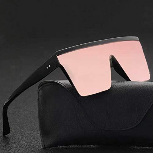 ERIOG Gafas de Sol Gafas De Sol Cuadradas De Gran Tamaño Hombres Mujeres Flat Top Fashion Lentes De Una Pieza Gafas De Sol para Mujeres Sombras Espejo