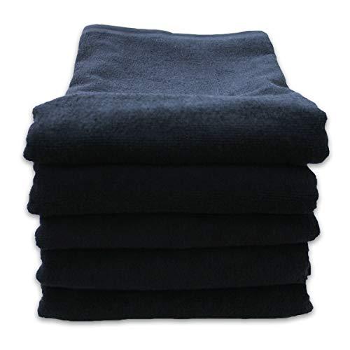 バスタオル 1000匁 業務用 5枚セット 70x140cm 色落ちしにくいスレン染め 01-029-5P (ブラック)
