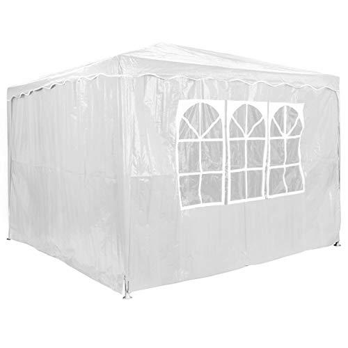 Homelux Partyzelt 3 x 3 m Festzelt Gartenzelt Bierzelt Pavillon Gartenpavillon mit 4 Seitenwänden Weiss