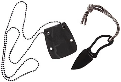 MIL-TEC 15398100 - Cuchillo de cuello, Hoja 4 cm, con vaina plástico y cadena, Negro