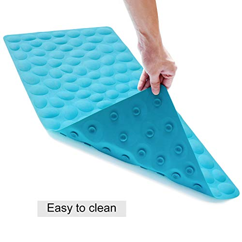 OTHWAY Non-Slip Bathtub Mat Soft Rubber Bathroom Bathmat with Strong Su   ction Cups (Blue)