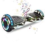 HappyBoard 6,5 Pollici Hoverboard Monopattini Elettrici Autobilanciati Scooter Elettrico Autobilanciante, Ruote da Skateboard con Luce a LED, Motore 700 W Bluetooth (Verde Mimetico)