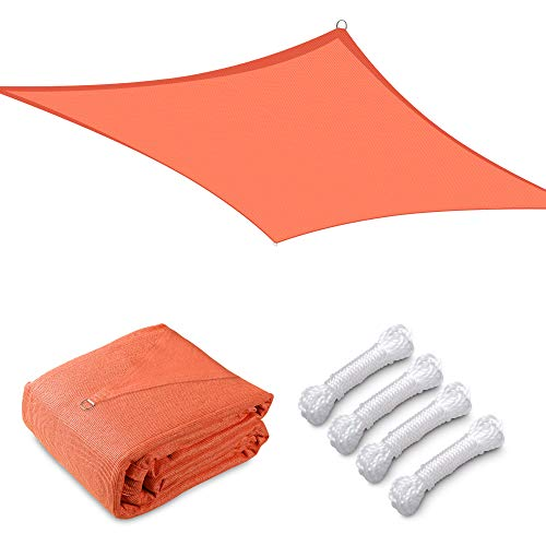 Yescom 20x20FT Square Sun Shade Sail Canopy 97% UV Block Commercial Events Carpark Swimming Pool Camping Beach Picnic Playground Outdoor Building Bright Orange