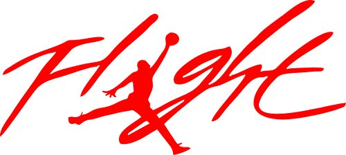 Flight Jordan Jumpman Logo Huge 23 AIR Decal Sticker for Automobile Room Car Window Tablet PC Computer Wall Laptop Notebook Ipad (5.5' inches, Red)