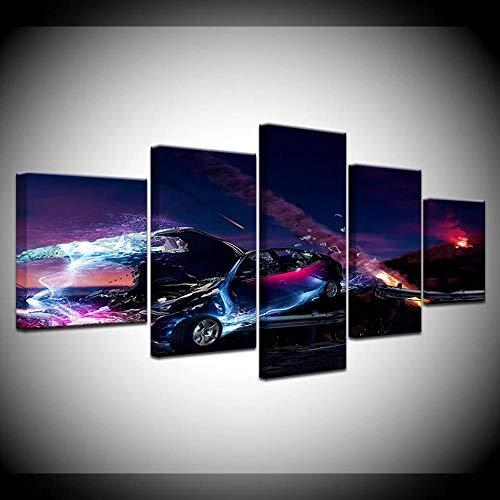 Lienzo decorativo para pared, diseño de coche deportivo, 5 piezas, moderno, enmarcado para salón, dormitorio, oficina, decoración de pared, 150 x 80 cm
