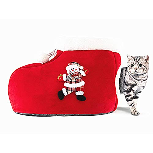 Cat Bed House, Lovely Christmas Boot Shaped Cat Nest, Comfortable Warm Self Warming Cat Cotton Nest Cat Cuddling Bed, Creative Pet Supplies for Indoor Cats