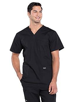 Workwear Professionals Men Scrubs Top V-Neck WW695 M Black