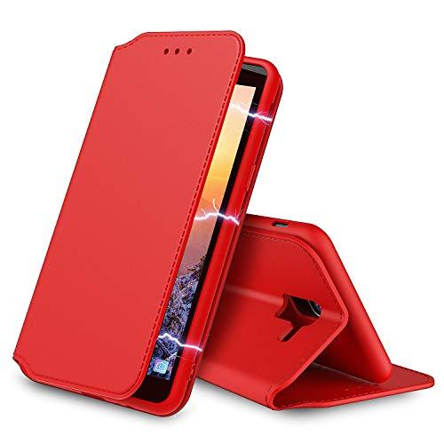 Aurstore Coque pour Samsung Galaxy J4 Plus 2018 2018 Pochette Housse Etui [Porte Carte Credit Ticket Metro], [Fonction Stand Video],[Fermeture Magnetique] pour(Samsung J4+ Plus (6.0'), Rouge)