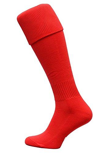 Nessi Fußballstutzen Modell G Fußball Strümpfe Stutzen 100% Atmungsaktiv viele Farben - Rot, 44-46