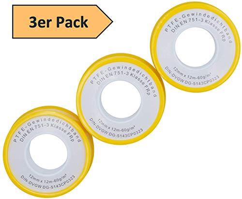 3er SET Gewindedichtband auf Rolle PTFE Teflonband für Metallgewinde DVGW DIN EN 751-3 Feingewinde FRp für Gas und Wasser 12mm x 0.1mm x 12m (60 g/m²)