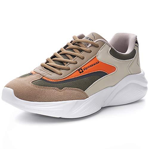 Alpine Swiss Stuart Mens Chunky Fashion Sneakers, Orange Olive, 12