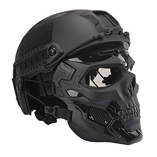 WTZWY Casco táctico Fast BJ con Calavera Máscara Facial Completa - Equipo de protección Ajustable para Airsoft Paintball Casco Ligero antidisturbios