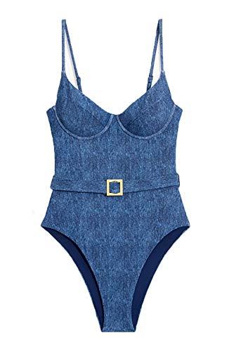 WeWoreWhat Women's Danielle Underwire One Piece Swimsuit Dark Wash M