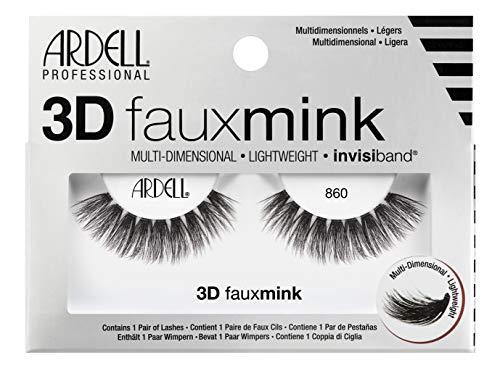 ARDELL Professional 3D Faux Mink 860, 1 Paar Wimpern aus Synthetikhaar, vegan, schwarz, black (ohne Wimpernkleber) ultraleicht, flexibel und wiederverwendbar