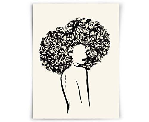 Black Woman Art DIGITAL Printable Wall Art Nude Line Art Print African American Art Female Figure Woman With Afro Minimal Line Drawing