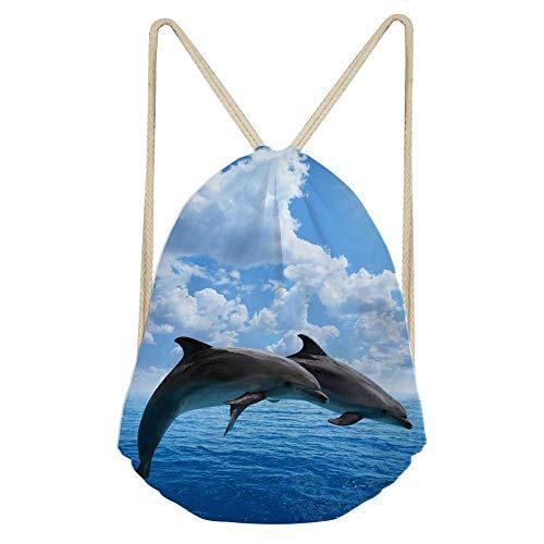 QWE Animal Drawstring Bag for Kids Boys Girls String Backpack Cinch Gym Bag DOISLL (Color : Dolphin)