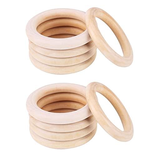 Voarge Baby Kinderkrankheiten Ring, Baby Beißringe Natürliches Wood Teether Zahnen Ringe für Babys Kinderpflege 10 Stück, Spielzeug Holz Armband DIY Handwerk (50mm)
