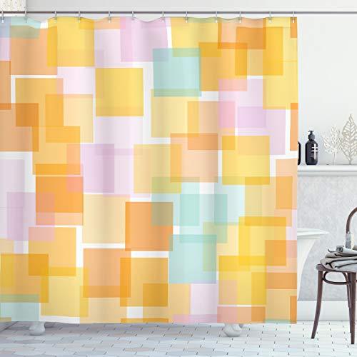 ABAKUHAUS Abstract Douchegordijn, Geometrische Random Squares, stoffen badkamerdecoratieset met haakjes, 175 x 240 cm, Veelkleurig