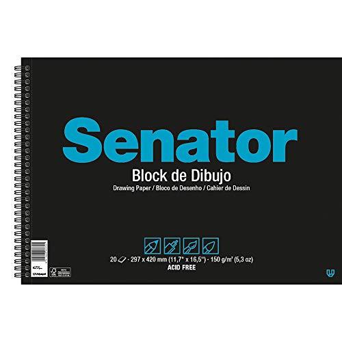 Unipapel Blocks 37012110. Block de Dibujo, Senator, Microperforado, Papel 150 Gramos, Ahuesado, A4