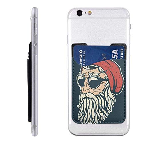 Gustave Tomlinson Hippster Santa Claus Handyhalter Rucksack Geldbörse, PU-Aufkleber ID Kreditkarte Brieftasche Handyhülle Tasche
